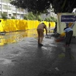 AFTER RAIN MEMBERS CLEANING THE ROADS FOR MOMINEENS.
